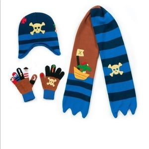 Kidorable Boys Pirate Hat, Mittens, Scarf Knit Set